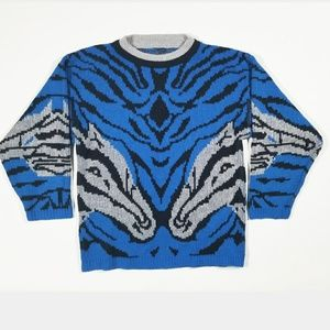 VTG Gazelle Wildlife Unique Retro 80s 90s Sweater